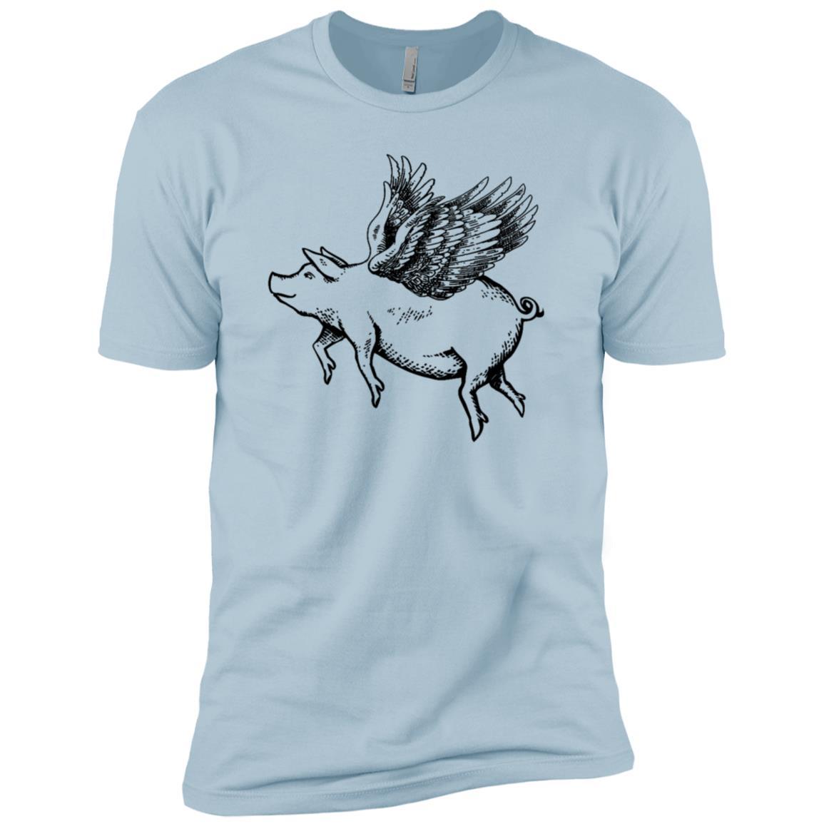Funny Magical Flying Pig Drawing Men Short Sleeve T-Shirt