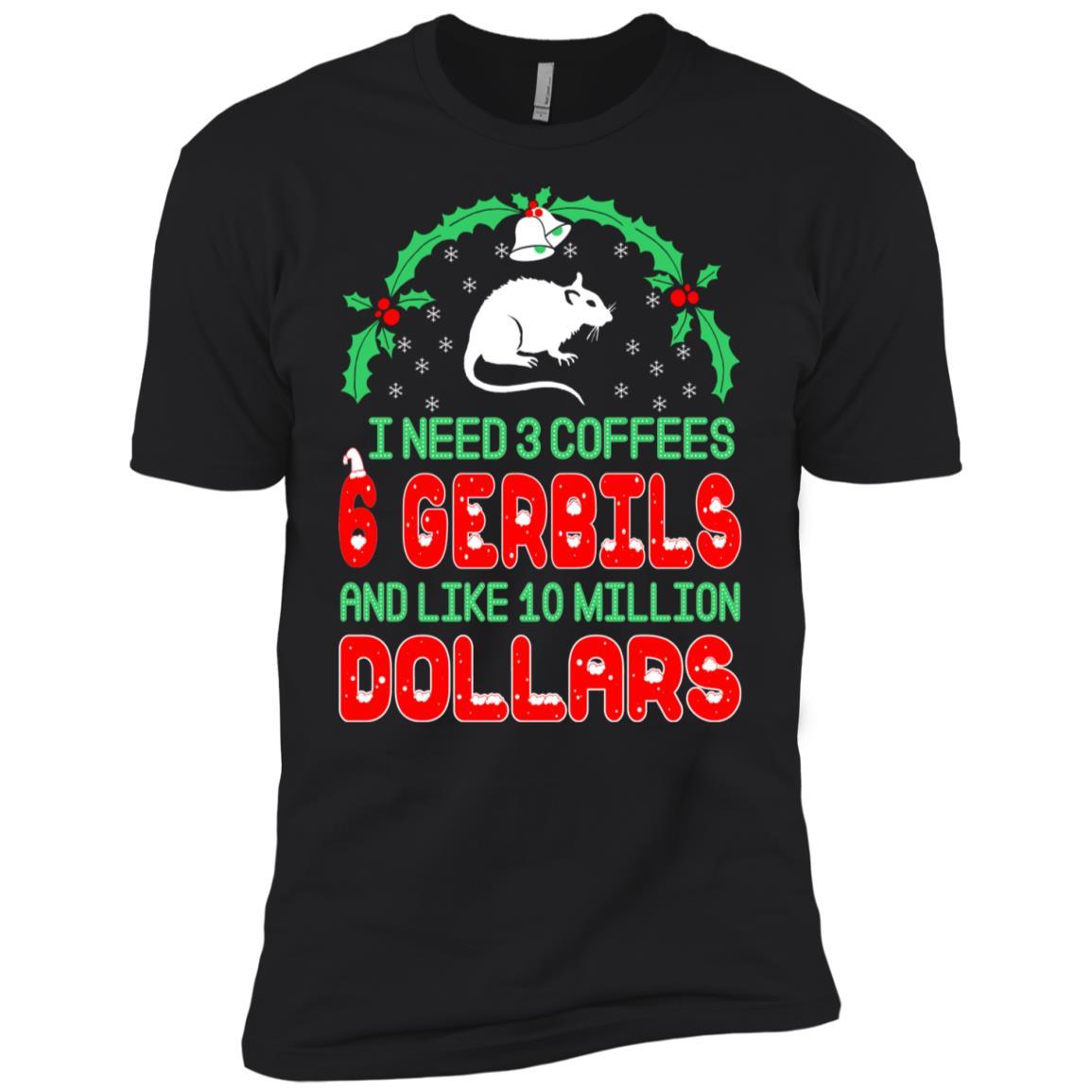 Need 3 Coffees 6 Gerbils Christmas Ugly Sweater-1 Men Short Sleeve T-Shirt