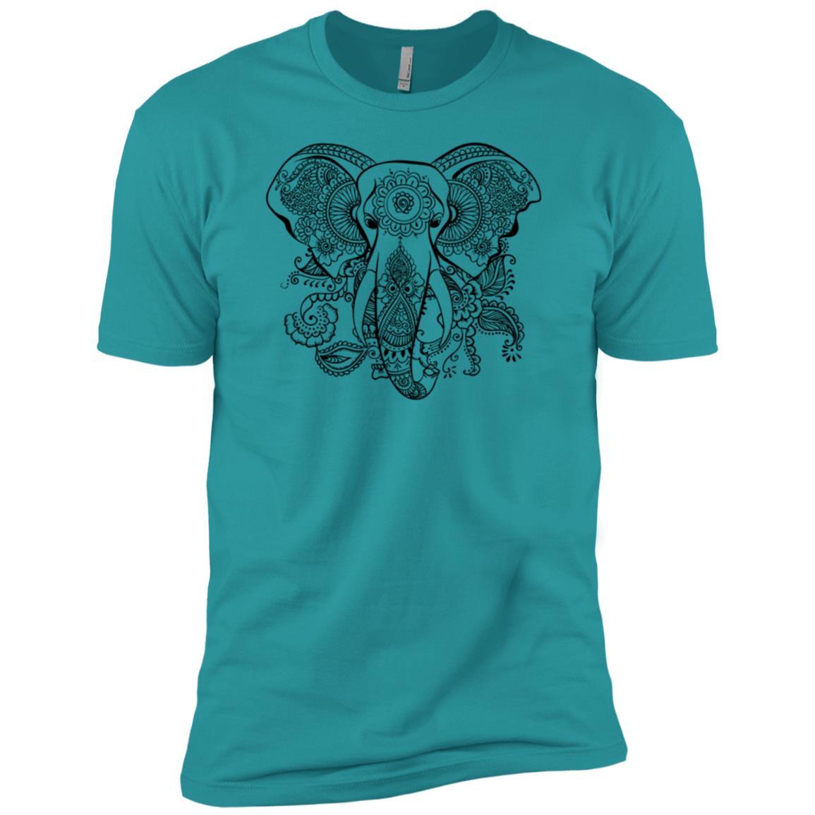 Beautiful Elephant Mandala Tattoo Art Pattern Men Short Sleeve T-Shirt