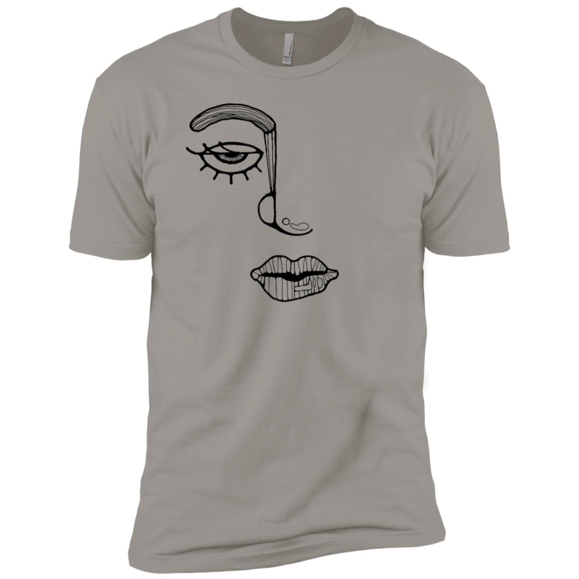 Artistic Line Drawing Abstract Woman Face Men Short Sleeve T-Shirt