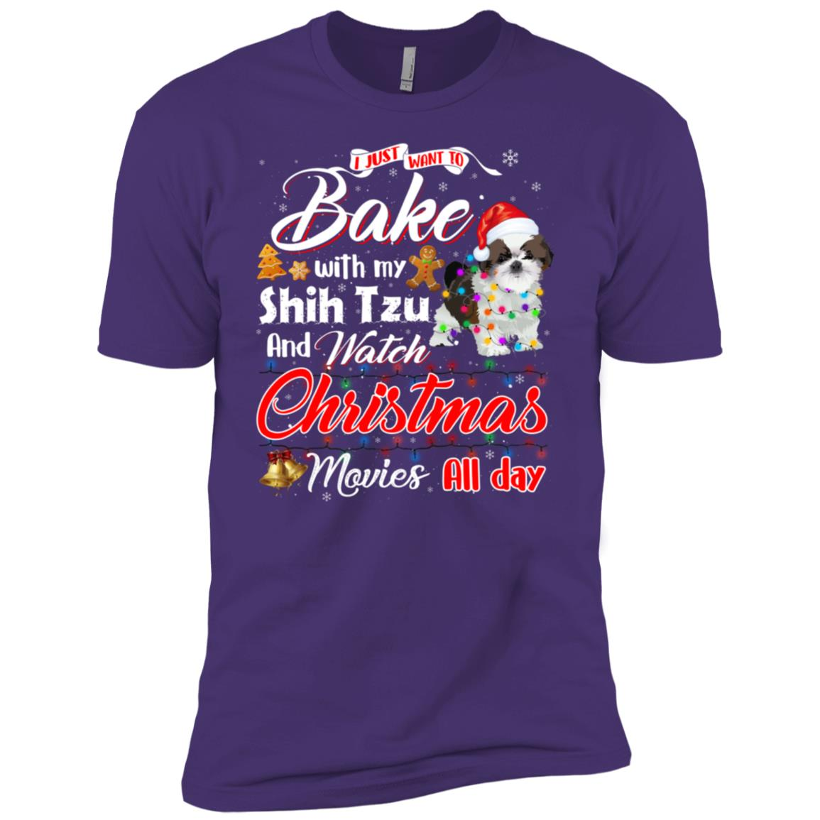 Bake Stuff with Shih Tzu Watch Christmas Movies Men Short Sleeve T-Shirt