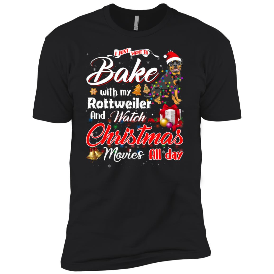 Bake Stuff with Rottweiler Watch Christmas Movies Long Sleev Men Short Sleeve T-Shirt