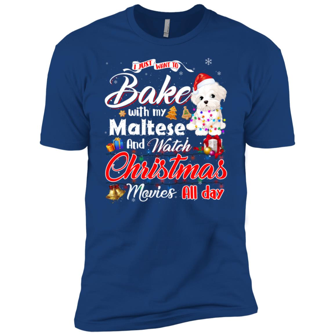 Bake Stuff with Maltese Watch Christmas Movies Men Short Sleeve T-Shirt