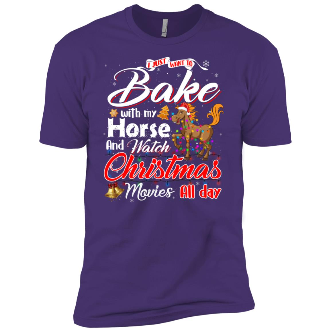 Bake Stuff with Horse And Watch Christmas Movies Men Short Sleeve T-Shirt