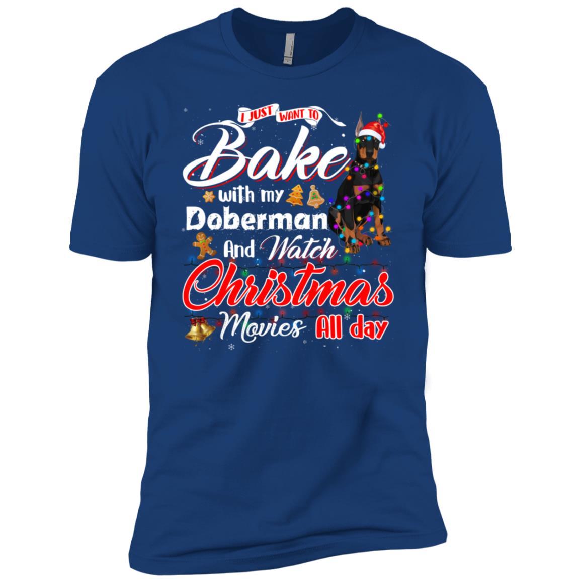 Bake Stuff with Doberman Watch Christmas Movies Men Short Sleeve T-Shirt