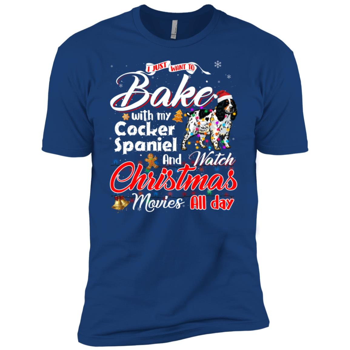 Bake Stuff with Cocker Spaniel Watch Xmas Movies Long Sleev Men Short Sleeve T-Shirt