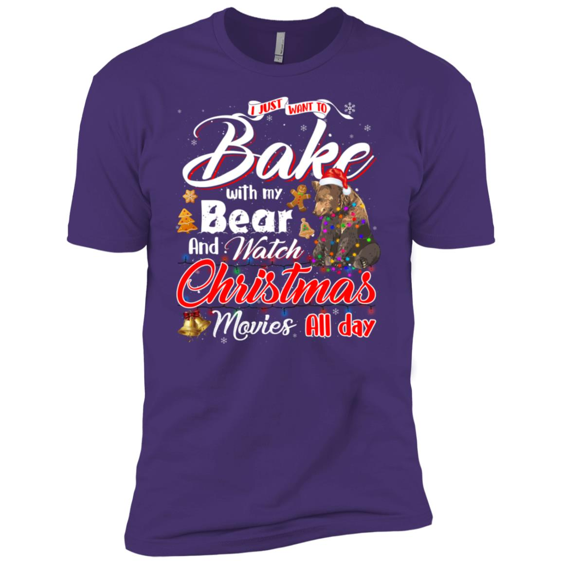 Bake Stuff with Bear And Watch Christmas Movies Men Short Sleeve T-Shirt