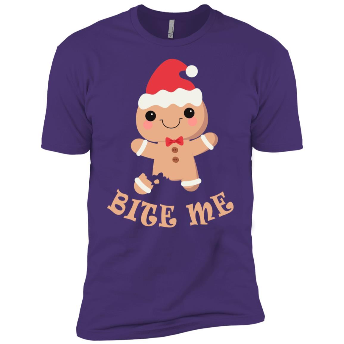 Christmas Bite Me Gingerbread – Funny Christmas Tee Men Short Sleeve T-Shirt