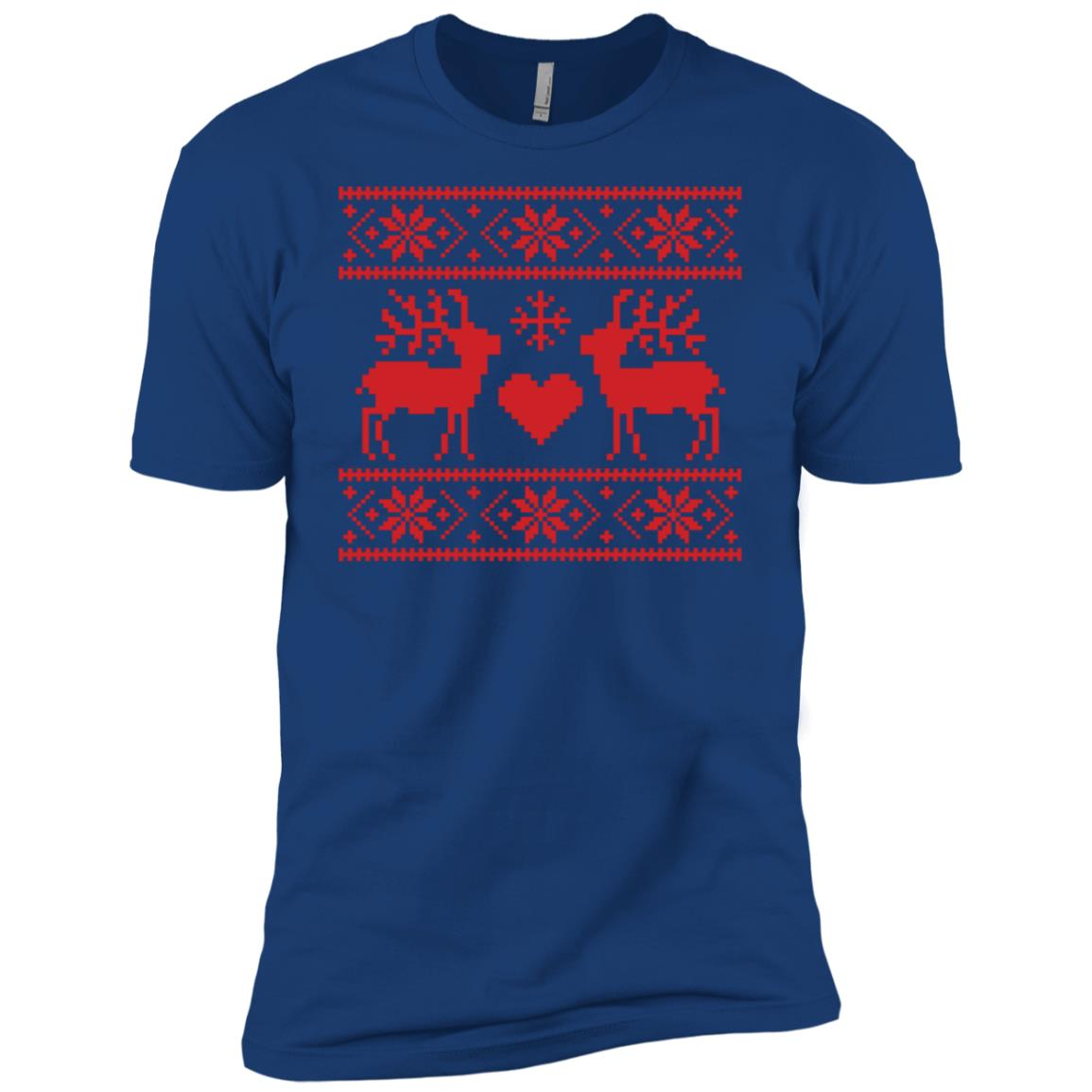 Ugly Christmas Sweater Style Reindeer Men Short Sleeve T-Shirt