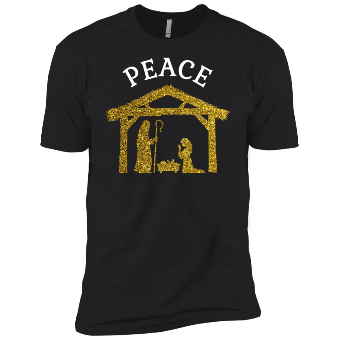 Peace Christmas Manger Scene Religious -4 Men Short Sleeve T-Shirt