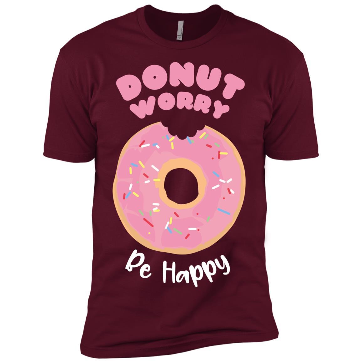 Donut worry, be happy funny joyful Men Short Sleeve T-Shirt