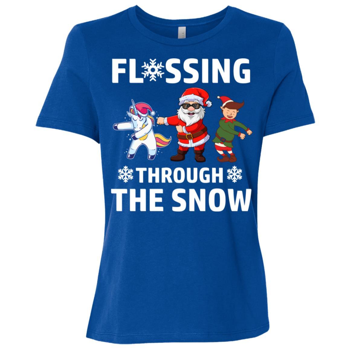 Flossing Through The Snow Santa Dance Women Short Sleeve T-Shirt