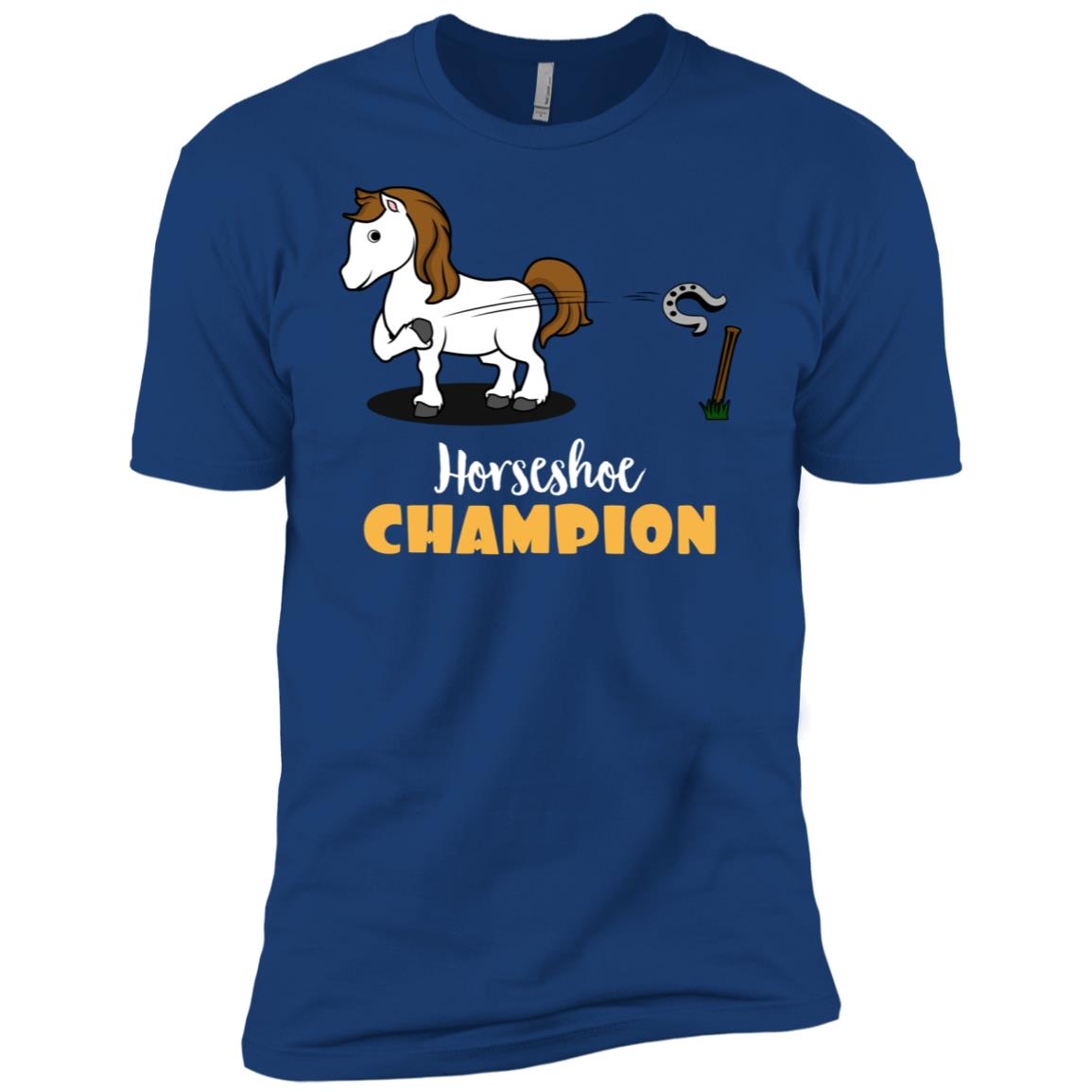 Horse Tossing Horseshoe Champion Ringer Pitching Men Short Sleeve T-Shirt