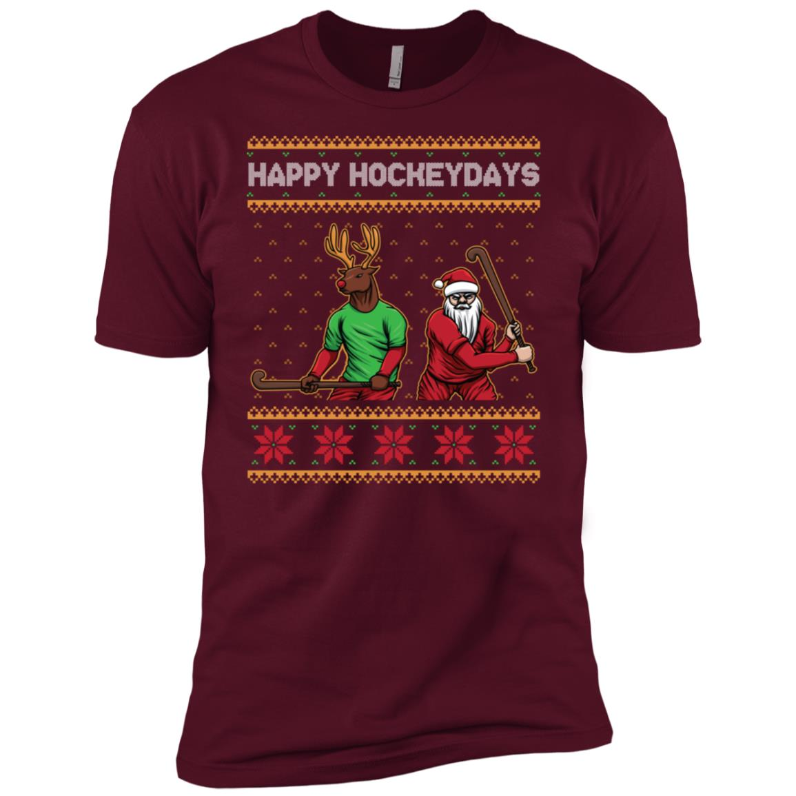 Happy Hockeydays Sleeve Ugly Christmas Hockey Funny Men Short Sleeve T-Shirt