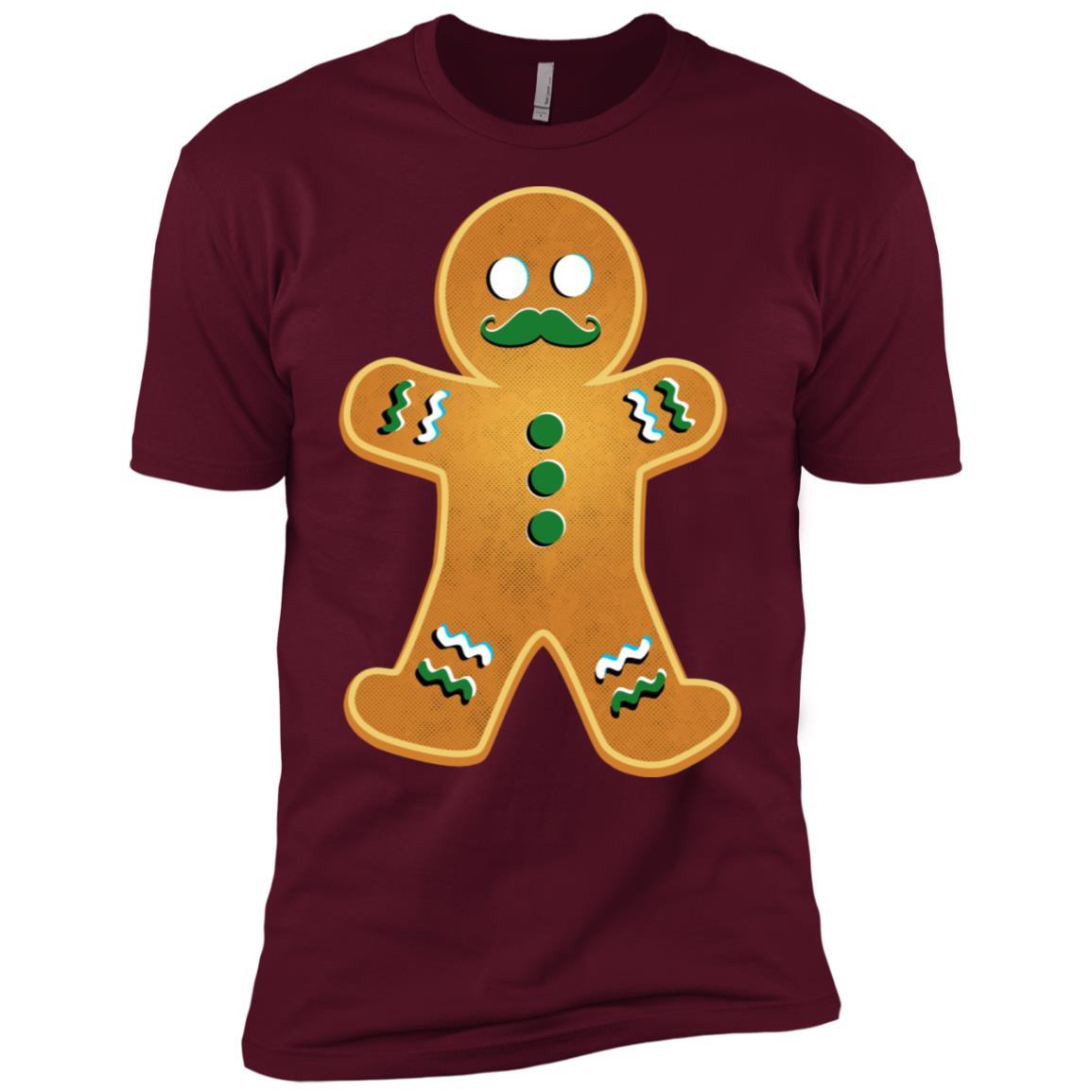 Gingerbread Christmas Funny Mustache Men Short Sleeve T-Shirt