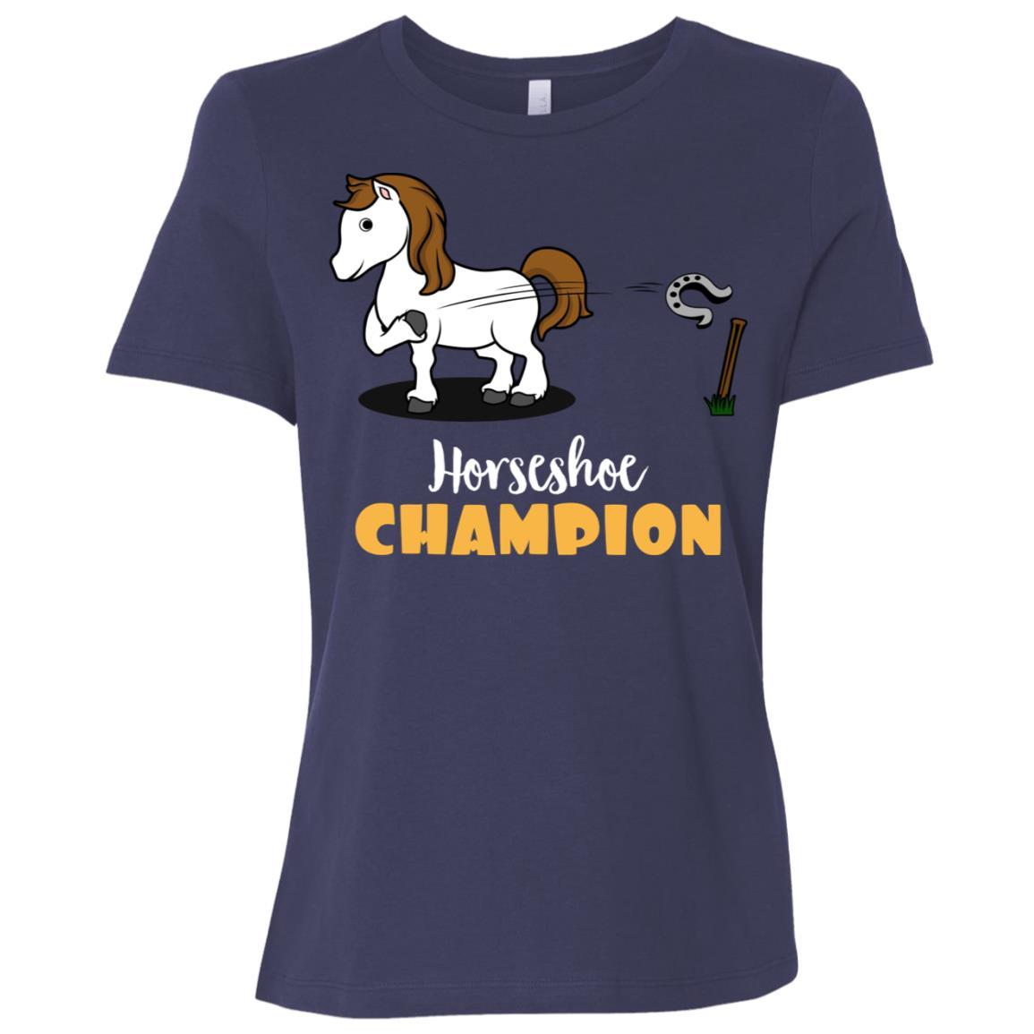 Horse Tossing Horseshoe Champion Ringer Pitching Women Short Sleeve T-Shirt