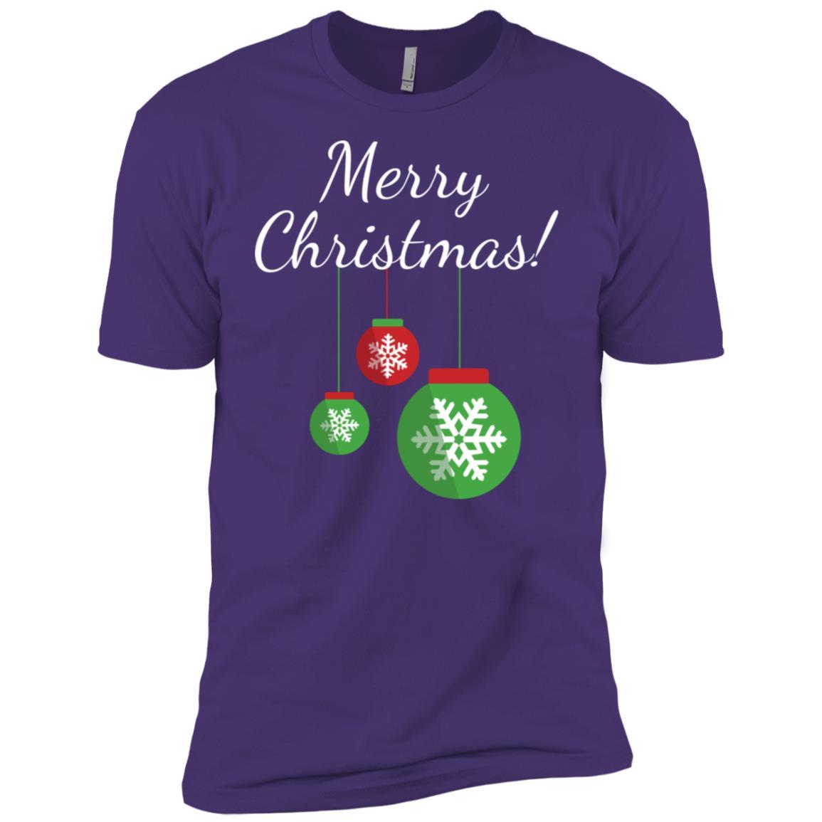 Merry Christmas Snowflake Ornament Bulb Men Short Sleeve T-Shirt