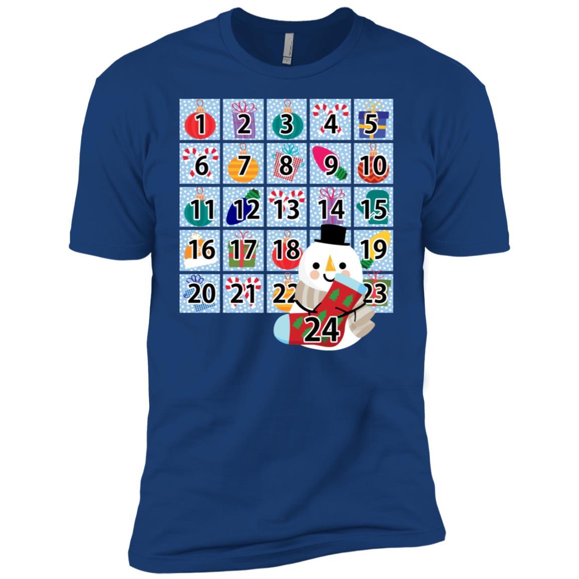 Snowman Wearable Christmas Advent Calendar Men Short Sleeve T-Shirt