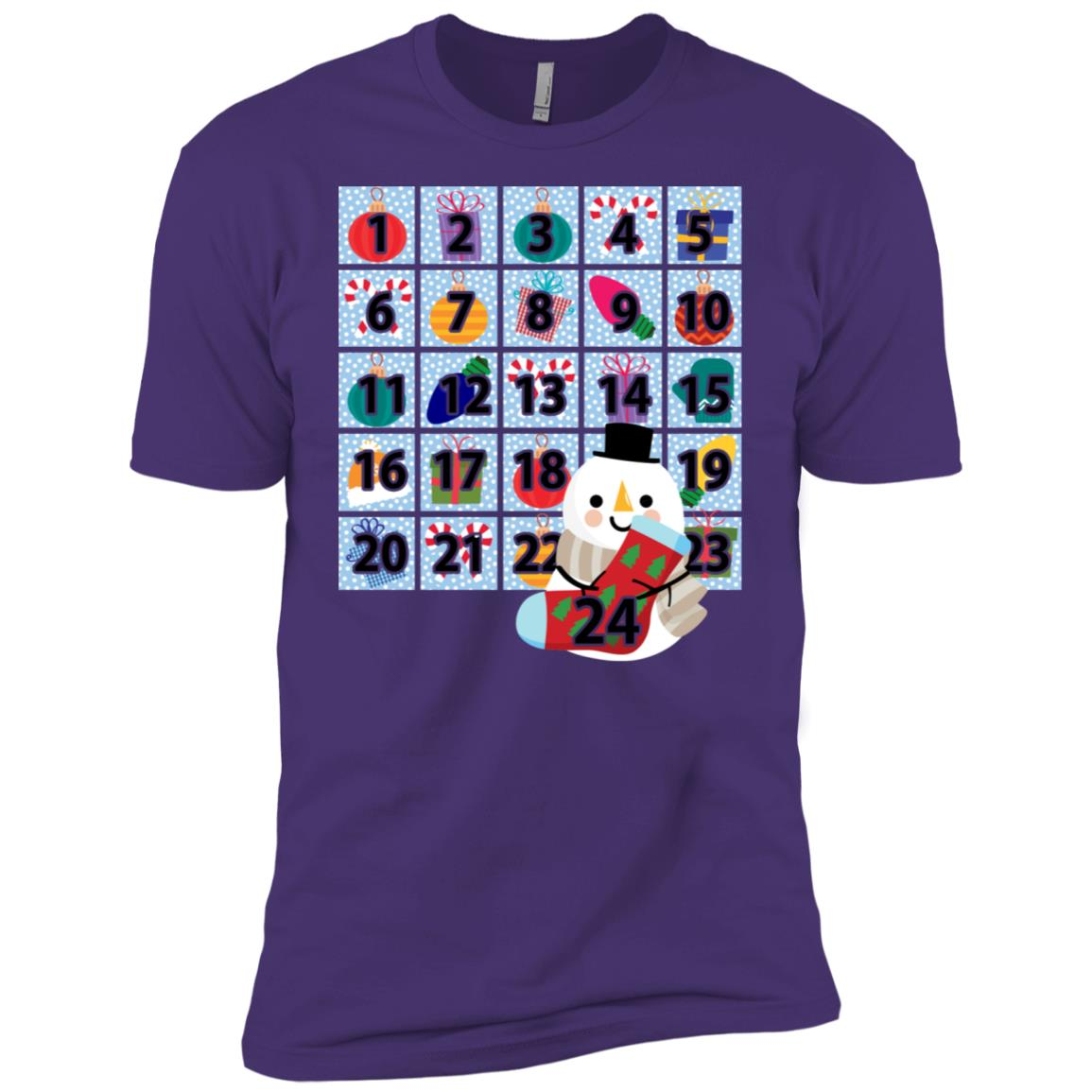 Snowman Christmas Advent Calendar – Men Short Sleeve T-Shirt