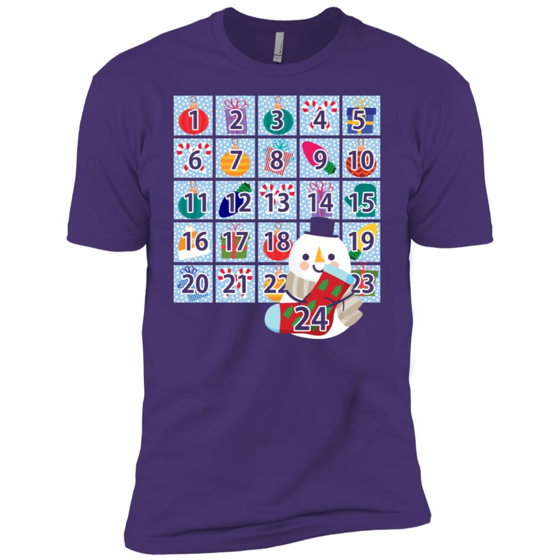 Snowman & Winter Goodies Wearable Advent Calendar Men Short Sleeve T-Shirt