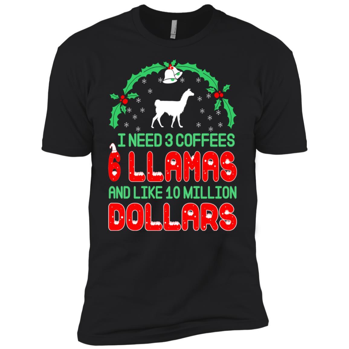 Need 3 Coffees 6 Llamas Christmas Ugly Sweater Men Short Sleeve T-Shirt