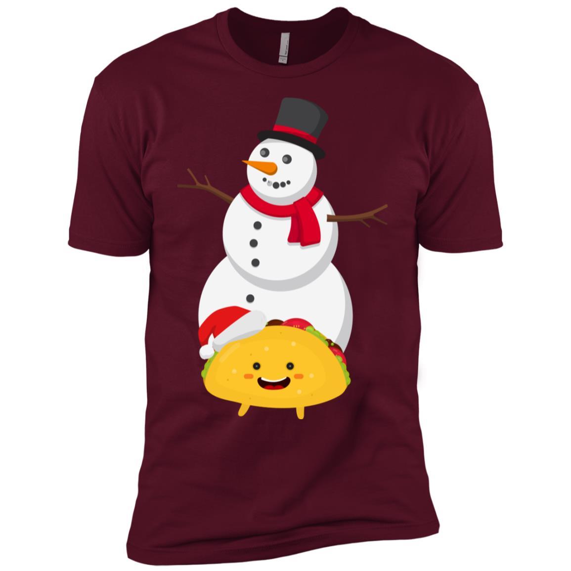 Taco and Snowman Christmas Decorations Men Short Sleeve T-Shirt