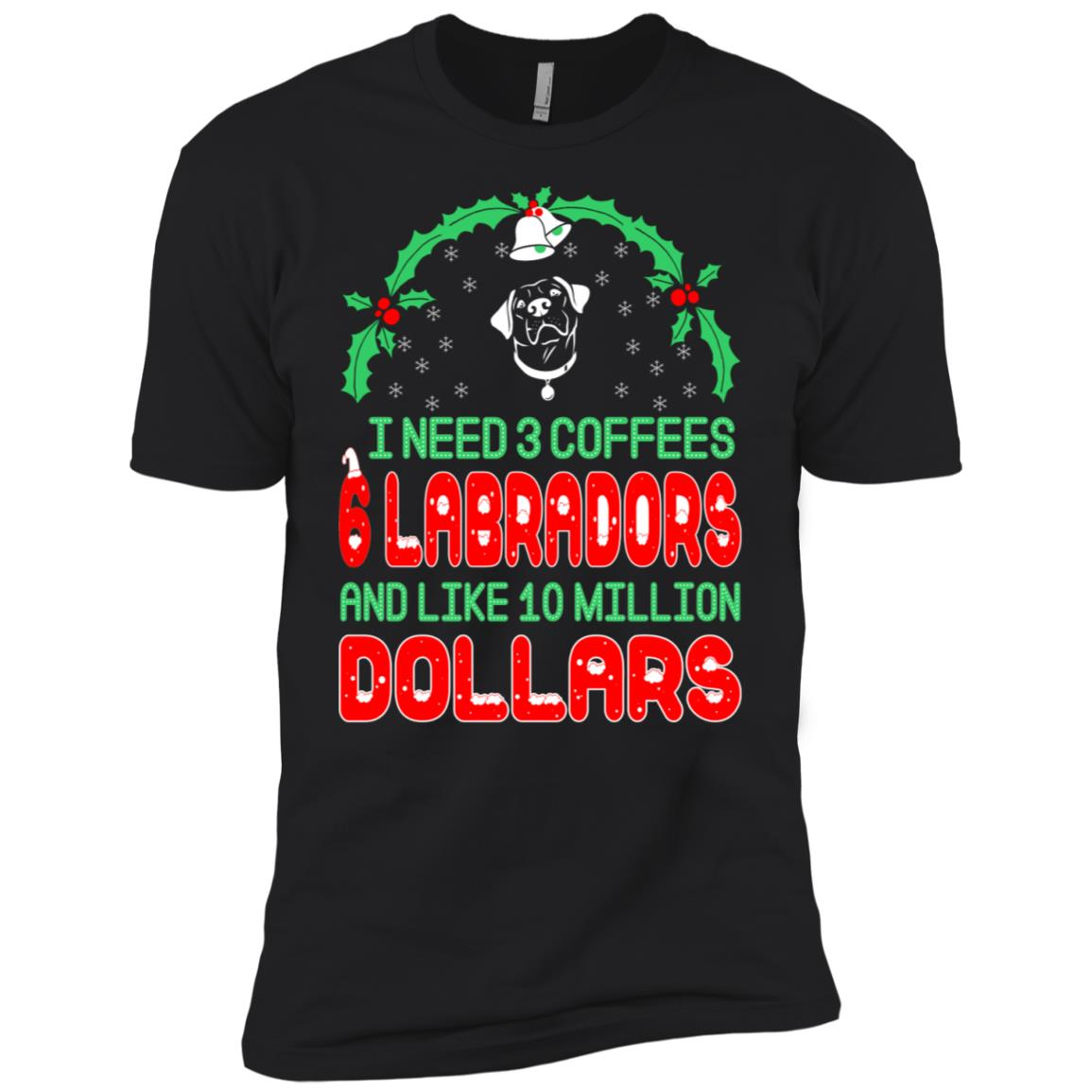 Need 3 Coffees 6 Labradors Christmas Ugly Sweater Men Short Sleeve T-Shirt