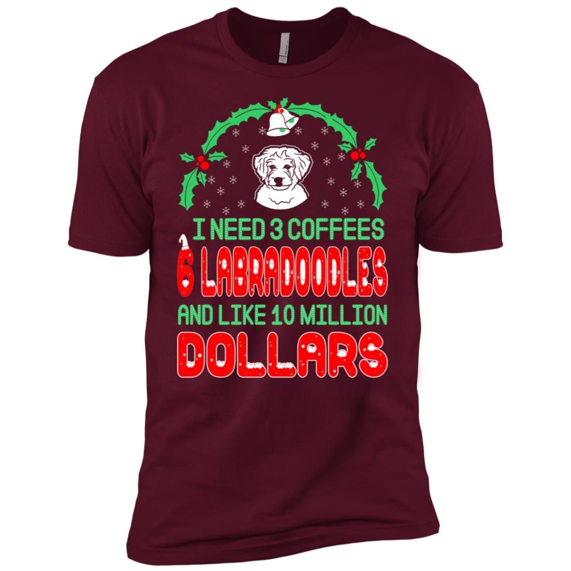 Need 3 Coffees 6 Labradoodles Christmas Ugly Sweater-1 Men Short Sleeve T-Shirt