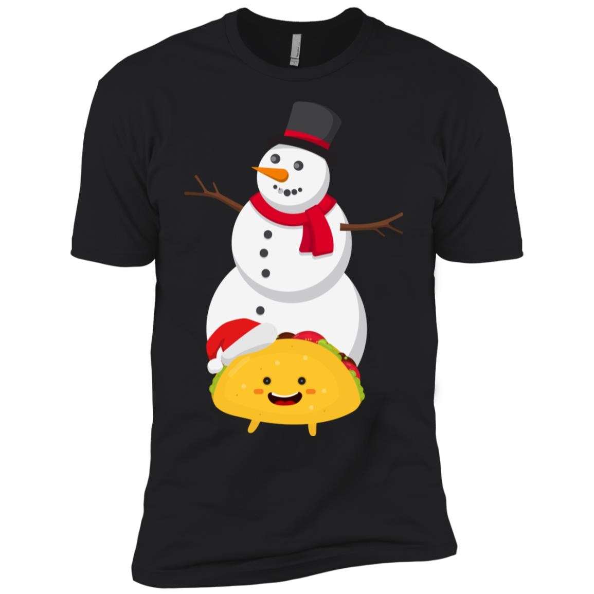 Taco and Snowman Christmas Decorations Men Short Sleeve T-Shirt