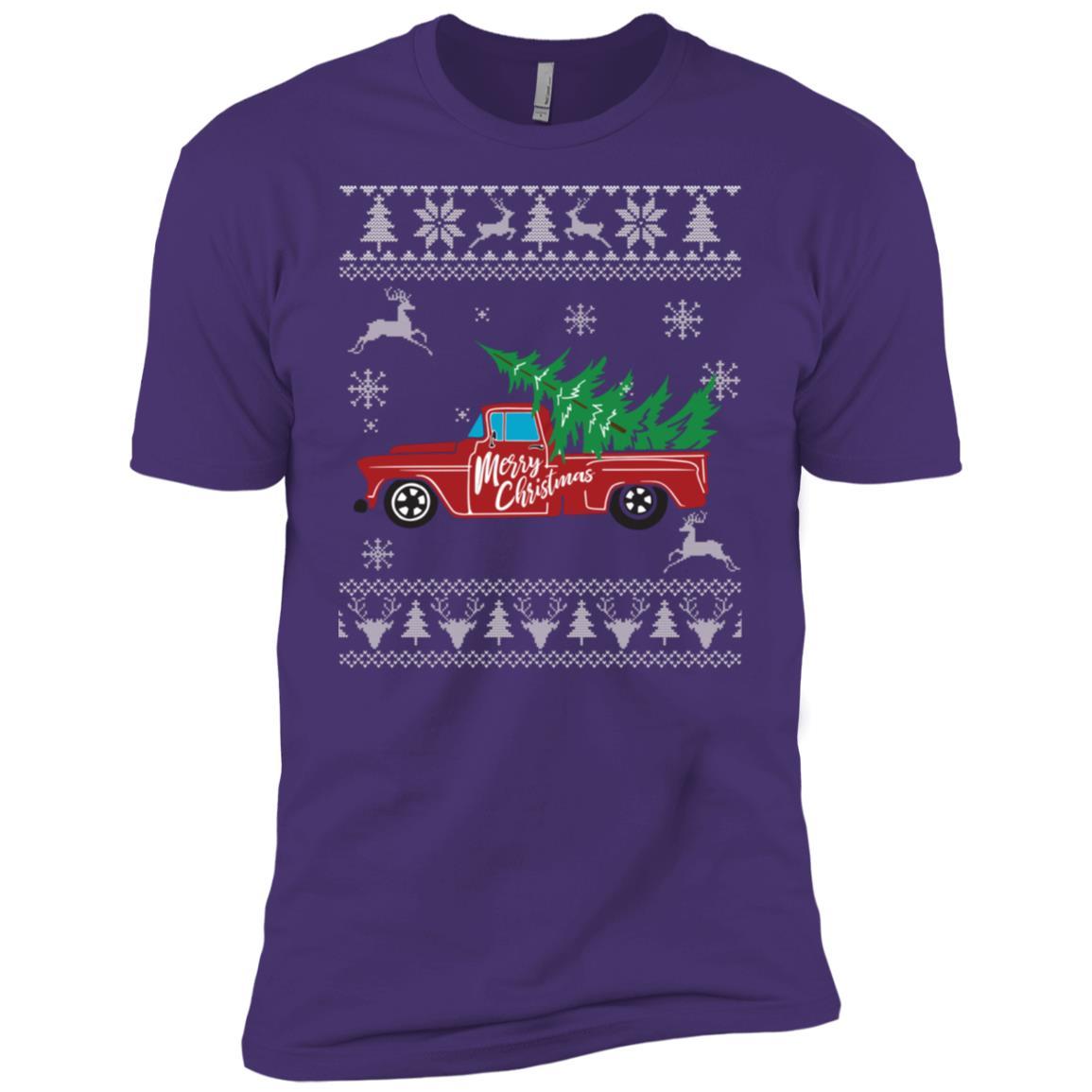 Red Truck Merry Christmas Long Ugly Christmas Sweater Men Short Sleeve T-Shirt