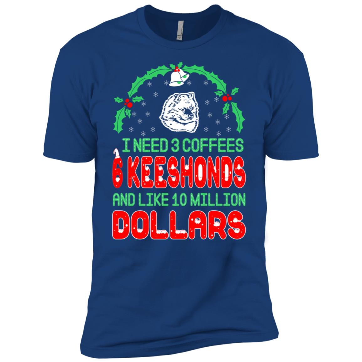 Need 3 Coffees 6 Keeshonds Christmas Ugly Sweater Men Short Sleeve T-Shirt