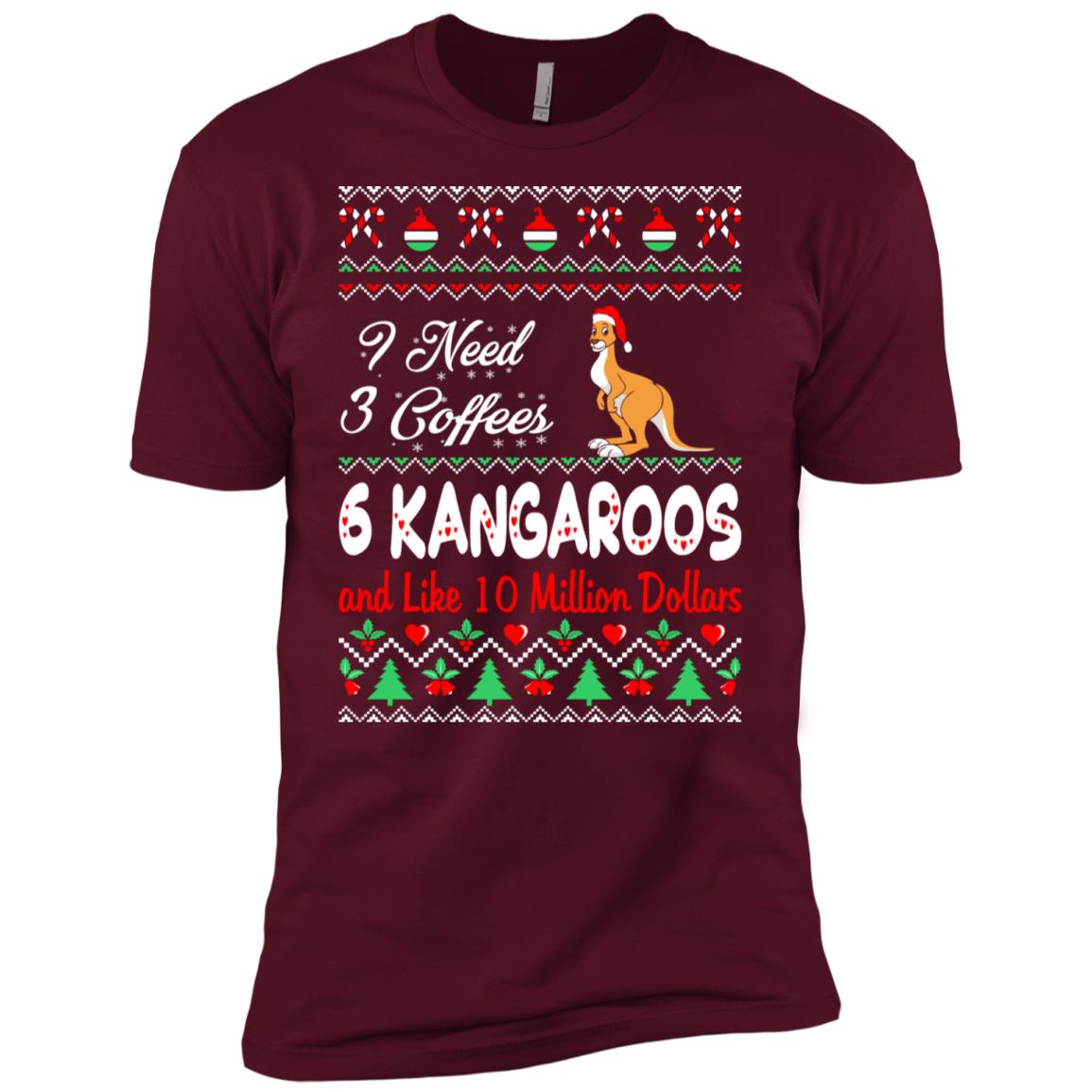 Need 3 Coffees 6 Kangaroos Christmas Ugly Sweater Men Short Sleeve T-Shirt