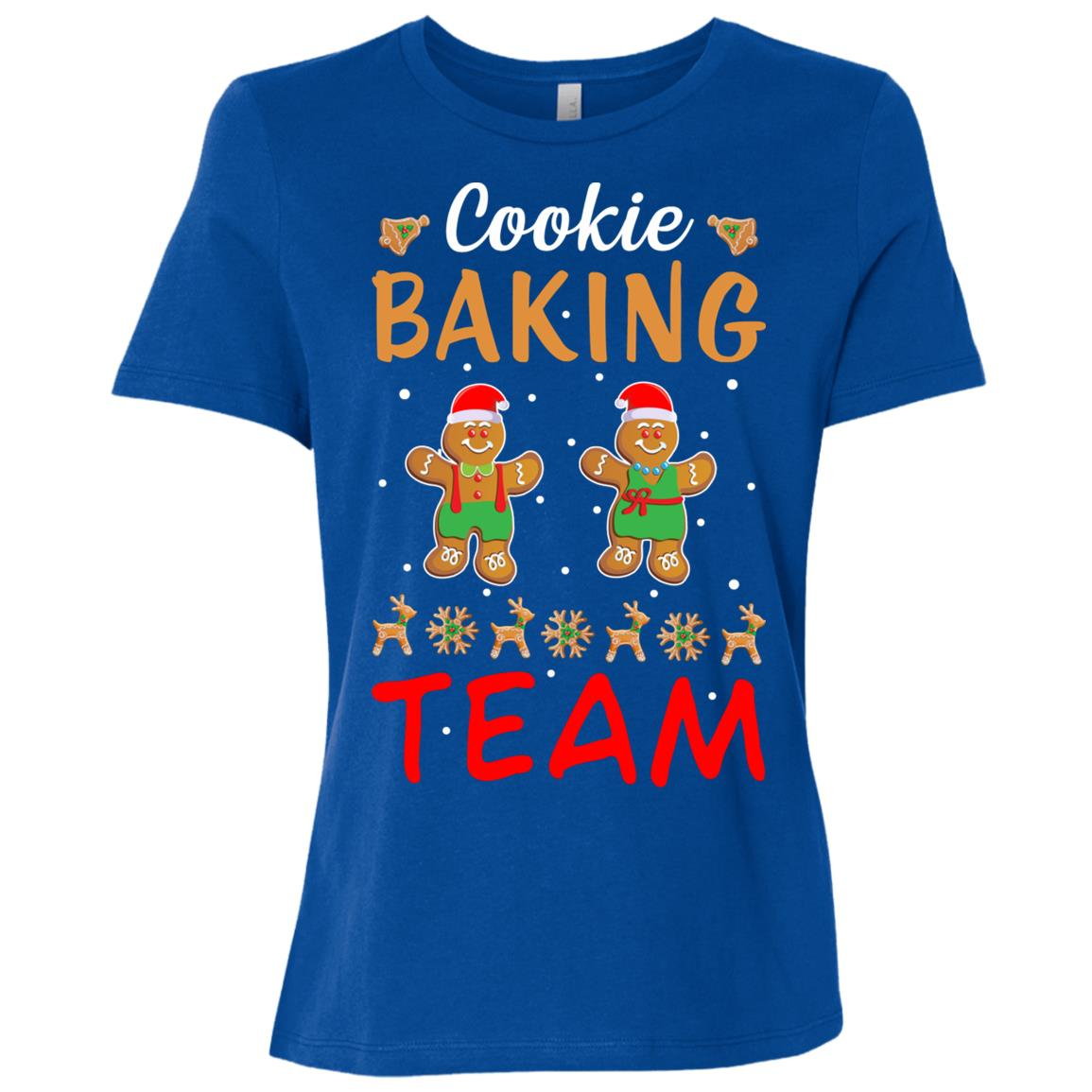 Cookie Baking Team Funny Gingerbread Santa Christmas Women Short Sleeve T-Shirt