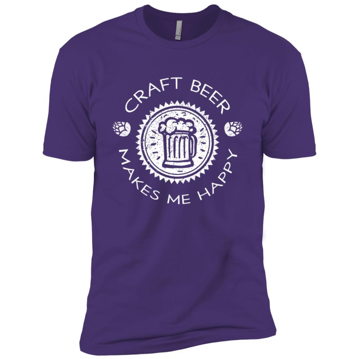 Craft Beer Makes Me Happy Funny Drink Lover Gift Men Short Sleeve T-Shirt
