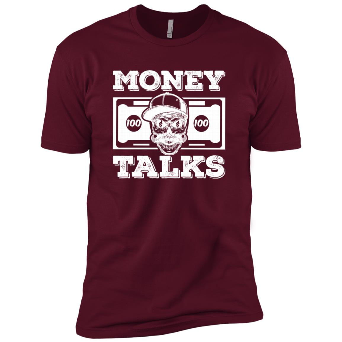 Money Talks Dollar Skull Motivational Hustle Gift Men Short Sleeve T-Shirt