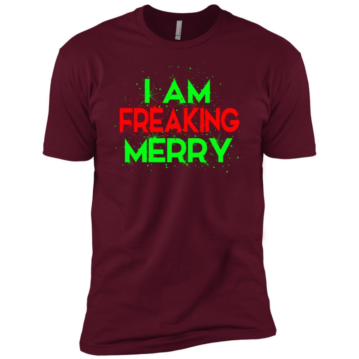 Funny I Am Freaking Merry Festive Men Short Sleeve T-Shirt