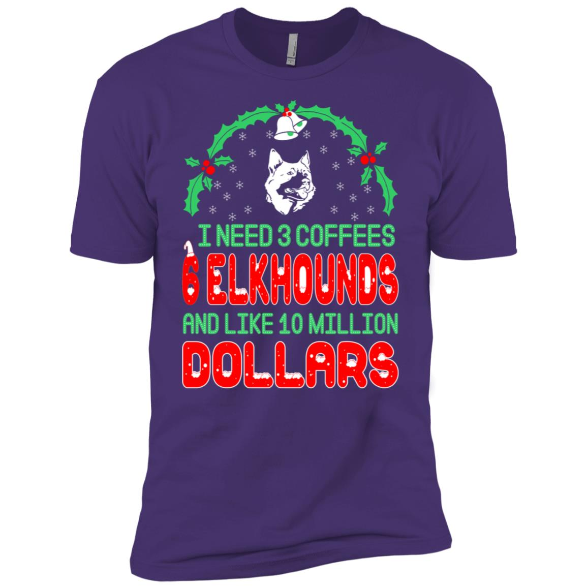 Need 3 Coffees 6 Elkhounds Christmas Ugly Sweater Men Short Sleeve T-Shirt