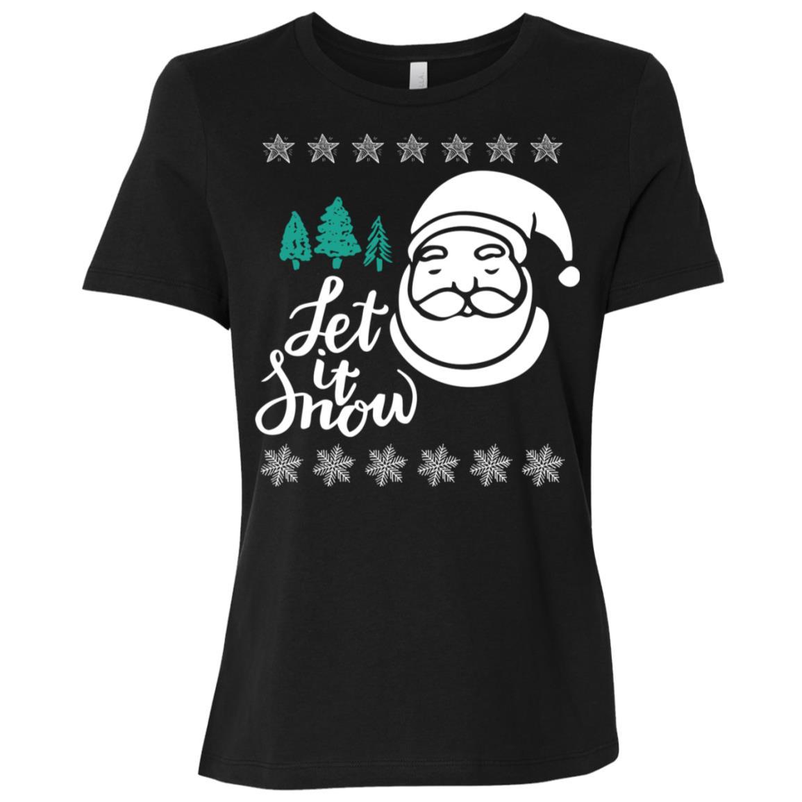 Let It Snow Santa Claus Statement Funny Christmas Women Short Sleeve T-Shirt