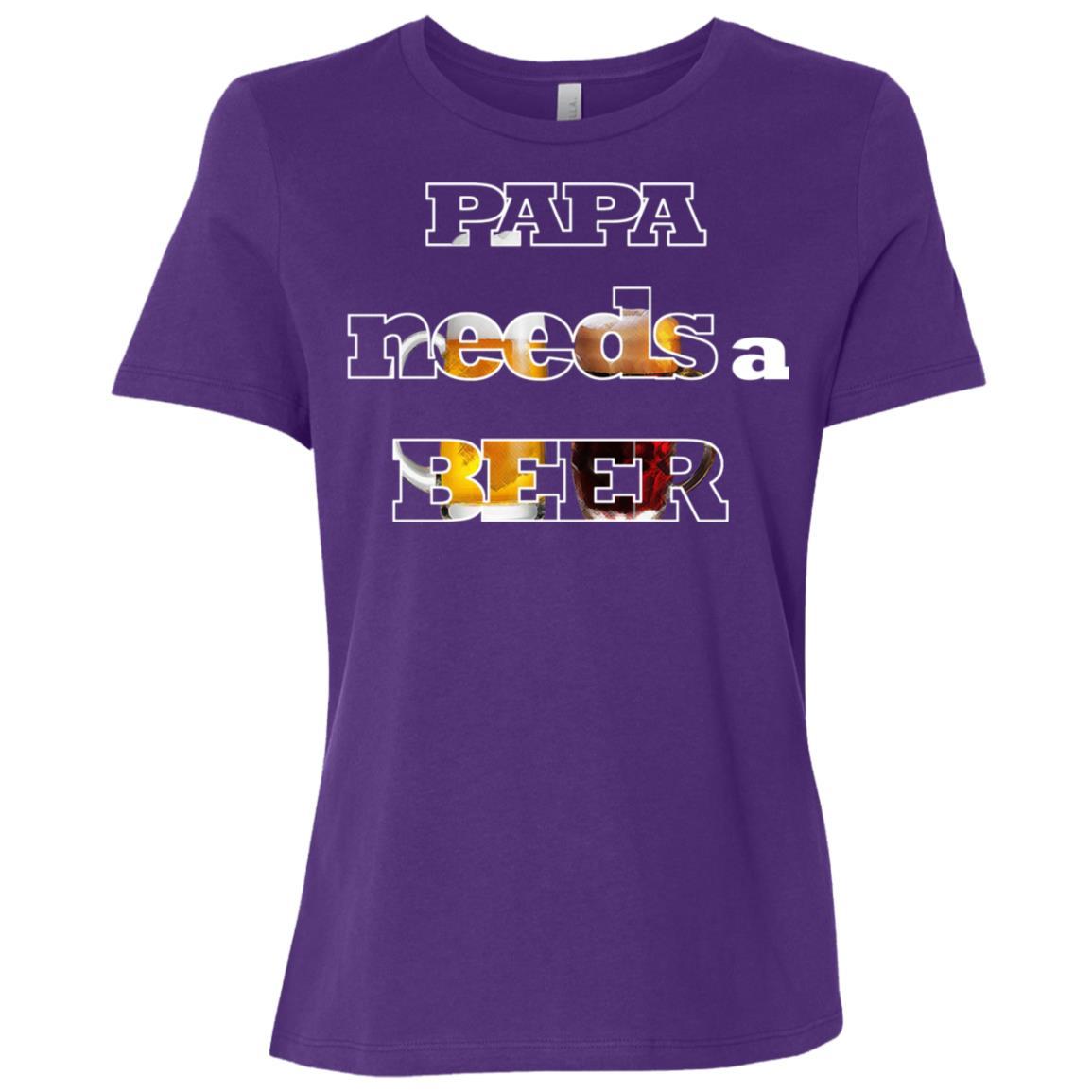 Papa Needs A Beer Cute Alcohol Drinking Lover Women Short Sleeve T-Shirt