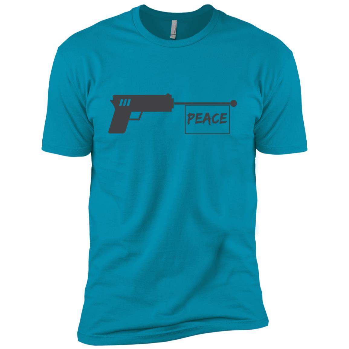 Peace Word Shot By Gun Funny Gift World Peace Day Men Short Sleeve T-Shirt