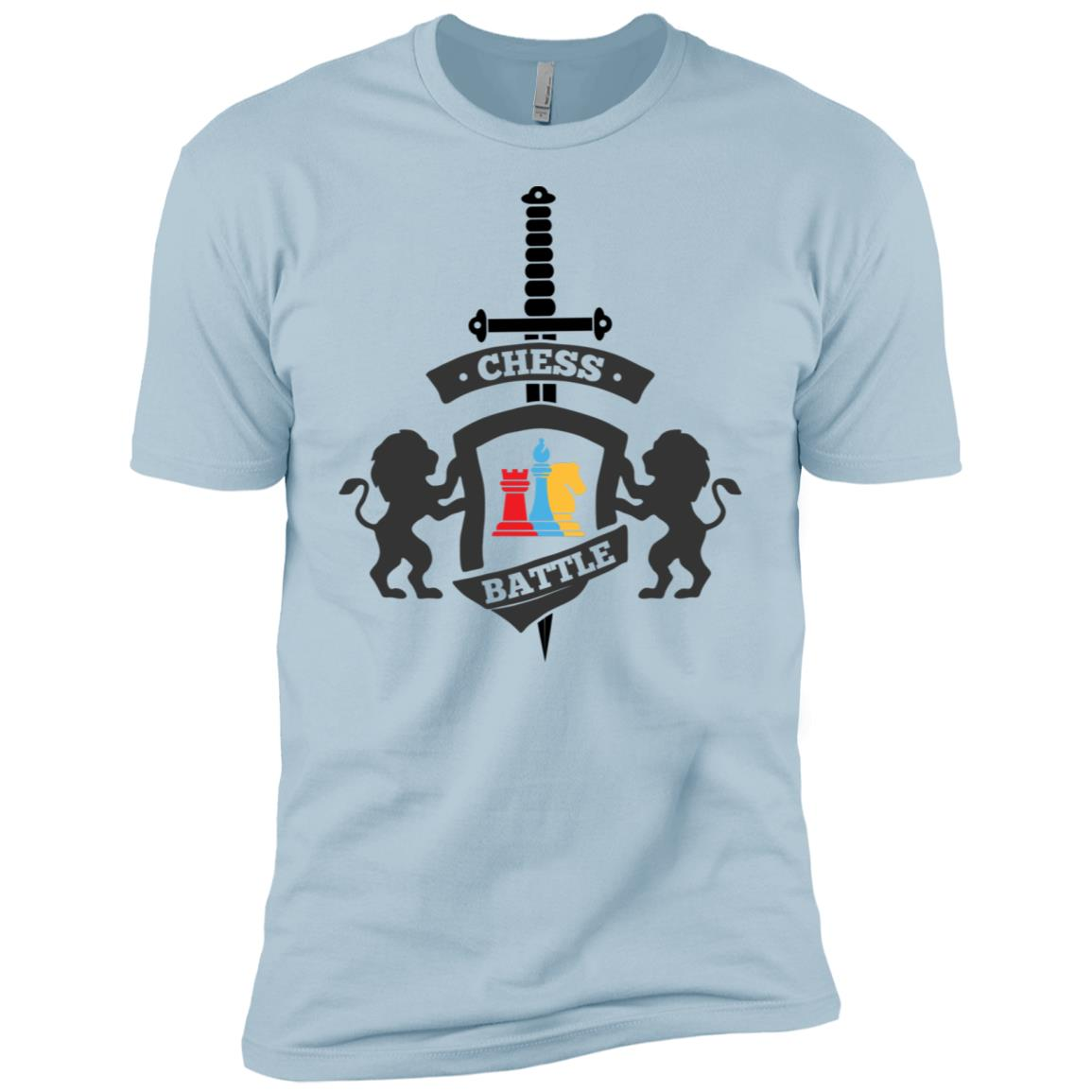 Chess Battle In A Coat Of Arms Funny Multicolored -1 Men Short Sleeve T-Shirt