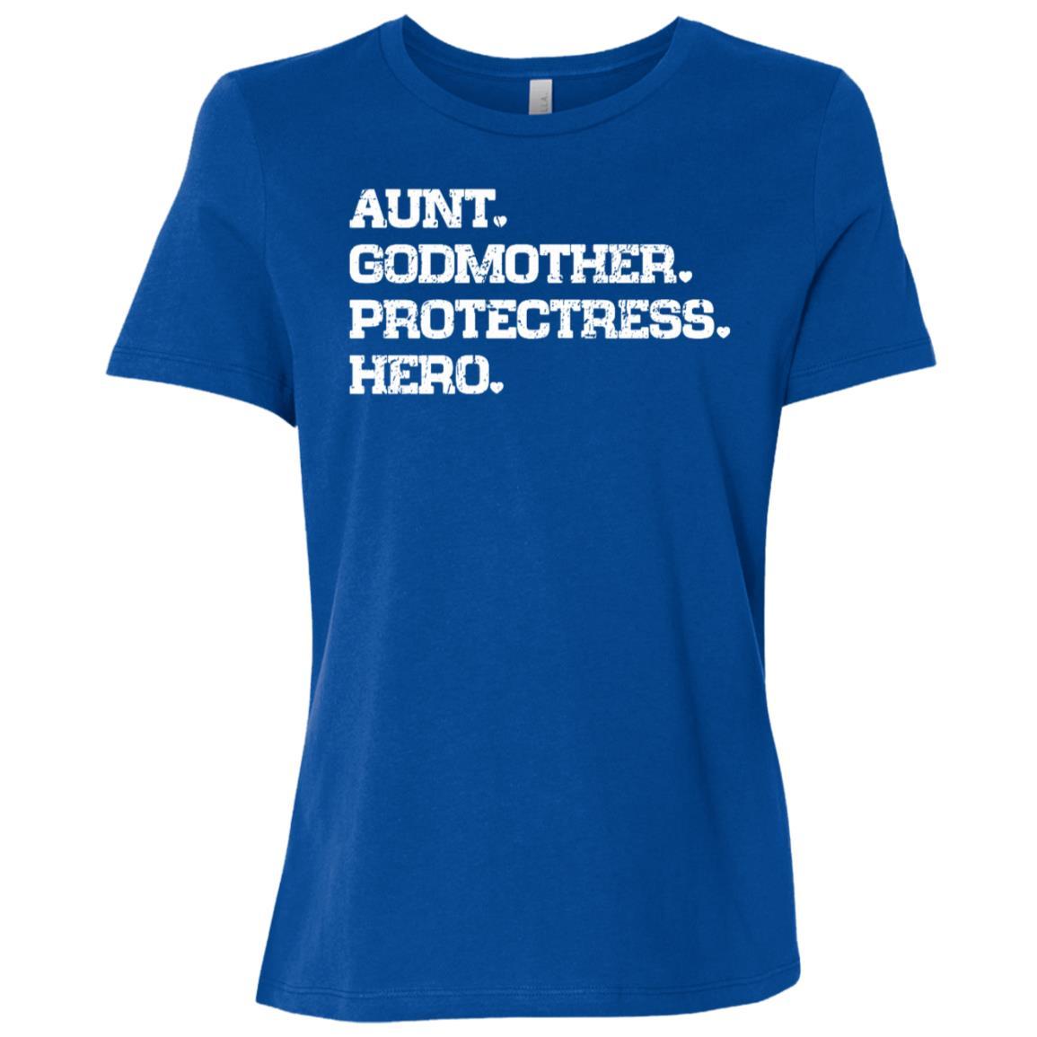Aunt Godmother Protecress Hero Family Love Sleeves Women Short Sleeve T-Shirt