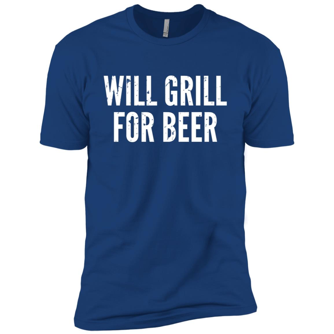 Mens Funny Father's Day – Will Grill For Beer – Dads Men Short Sleeve T-Shirt