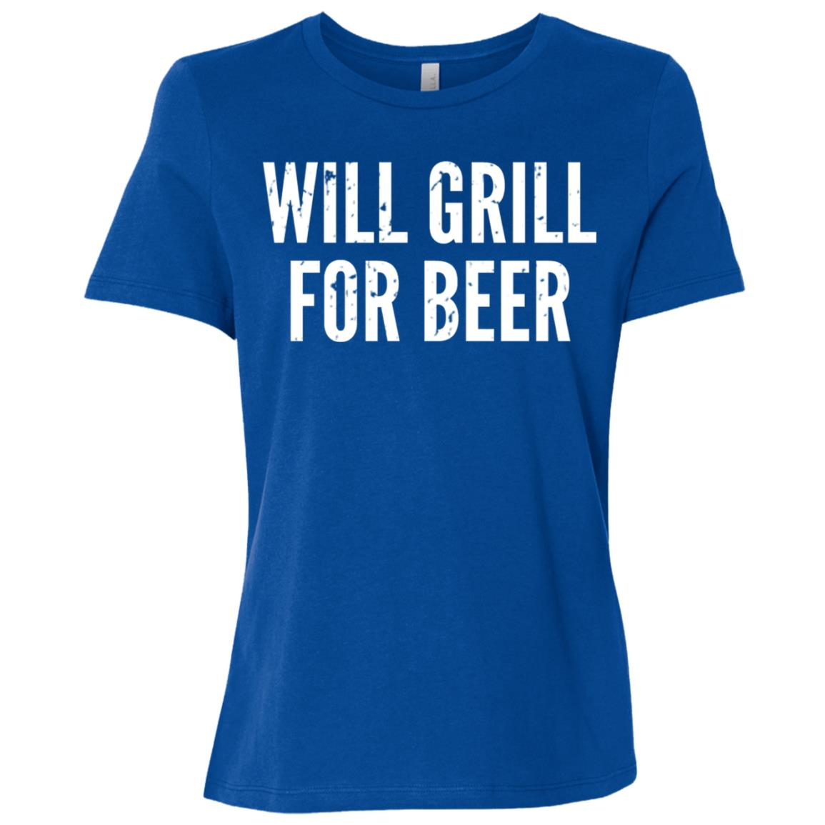 Mens Funny Father's Day – Will Grill For Beer – Dads Women Short Sleeve T-Shirt
