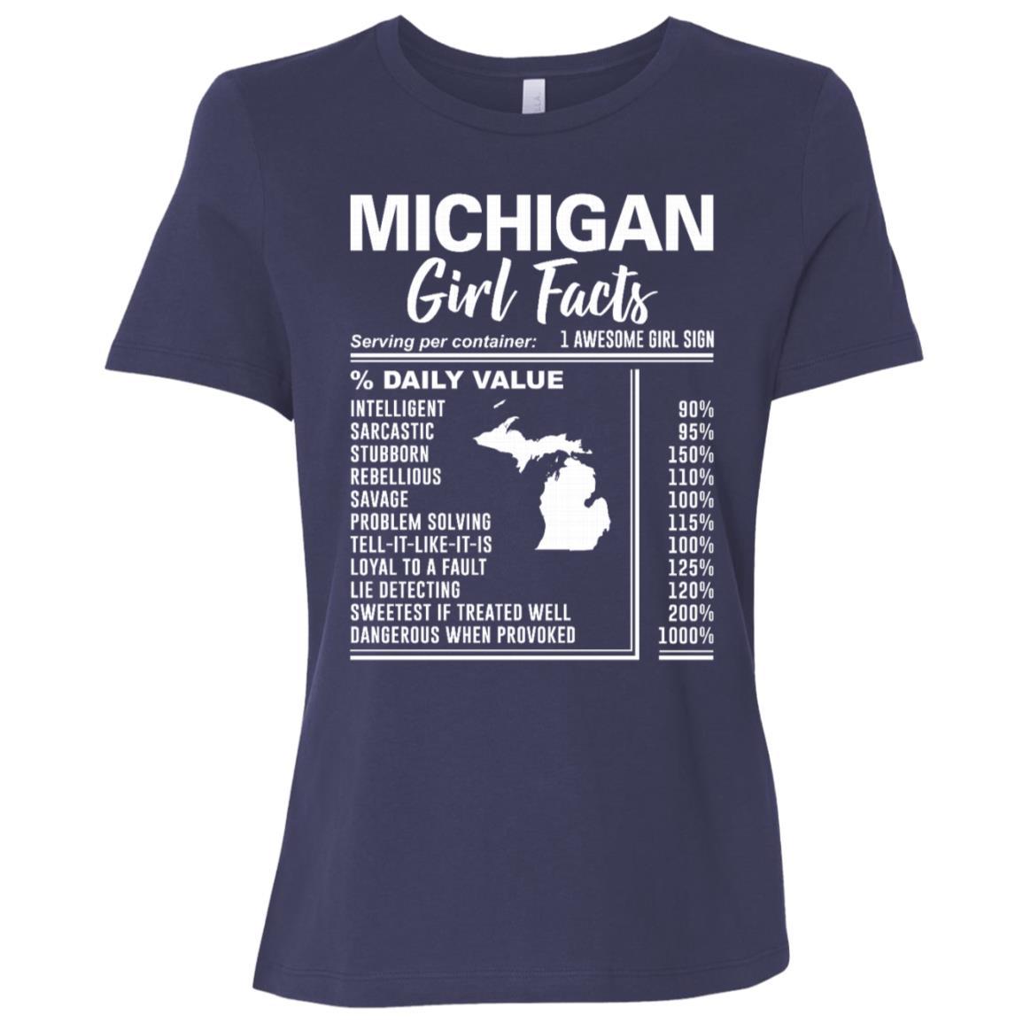 Born in Michigan – Michigan Girl Facts Women Short Sleeve T-Shirt