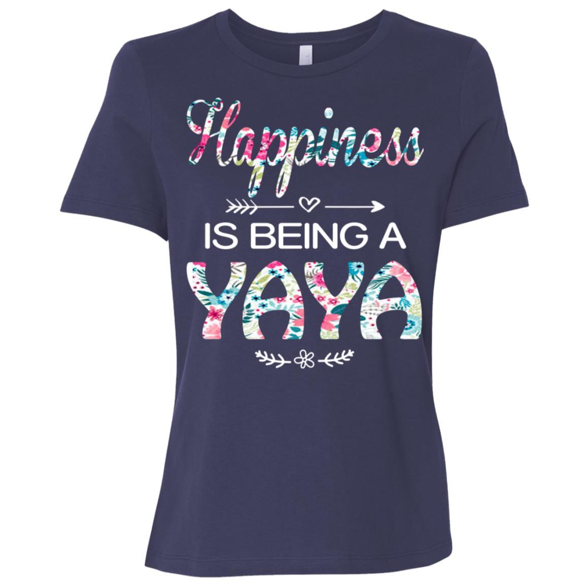 Happiness is Being a Yaya Cute Womens Grandma Tees Women Short Sleeve T-Shirt