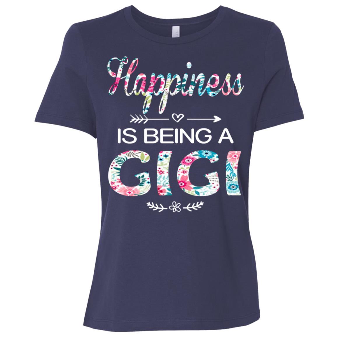 Happiness is Being a Gigi Cute Womens Grandma Tees-1 Women Short Sleeve T-Shirt