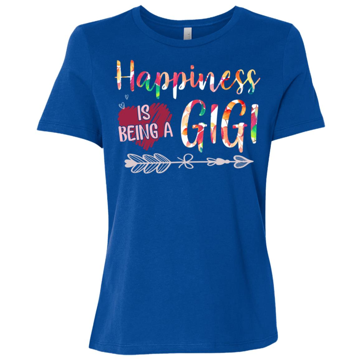 Happiness is Being a Gigi Cute Womens Grandma Tees Women Short Sleeve T-Shirt