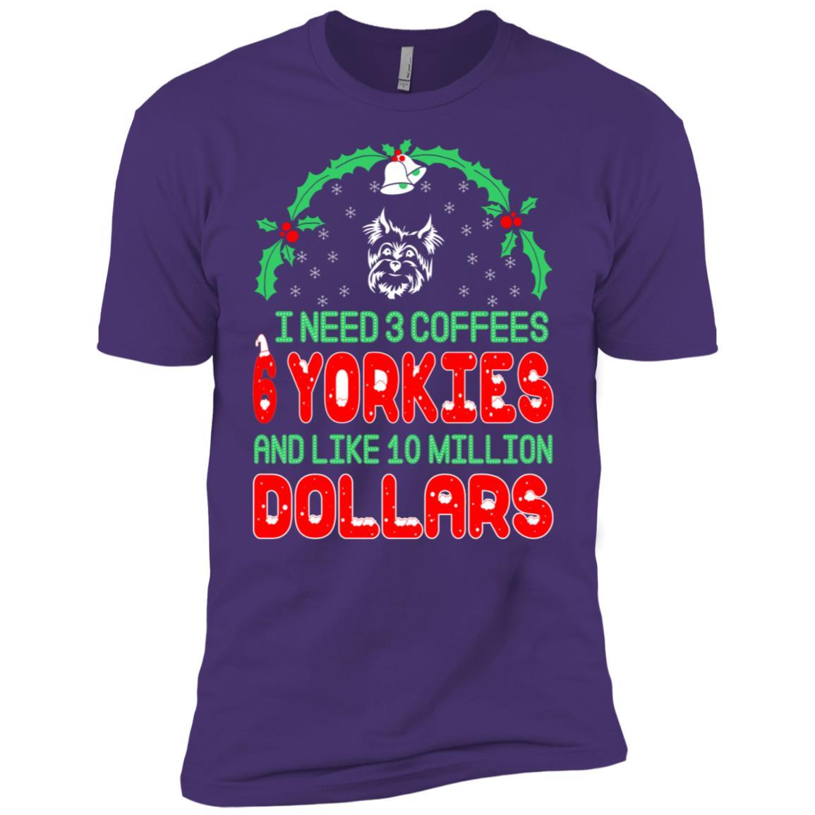 Need 3 Coffees 6 Yorkies Christmas Ugly Sweater-1 Men Short Sleeve T-Shirt