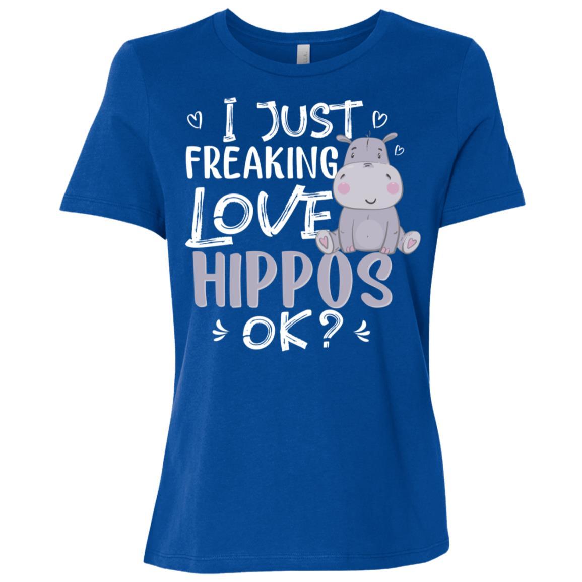 I Just Freaking Love Hippos Ok Cute Animal Critter Women Short Sleeve T-Shirt